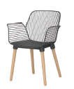beech leg+powdercoated steel+hard seat with fabric cushion