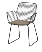 powdercoated steel with hard seat and fabric cushion