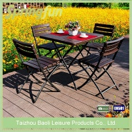 Bistro Table and chair set made in Plastic in Wooden or Rattan Look