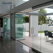 Exterior Aluminum Sliding Doors Hardware Hotel Frameless Glass Bi-Fold Partition