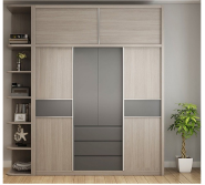 Eco-Friendly Chinese Modern Bedroom Sliding Door Triple Wood Clothes Cabinet Wardrobe Closet Designs