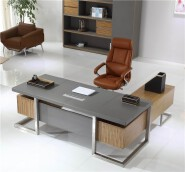 luxury office table executive ceo wooden desk office desk W-07 stainless steel legs computer office