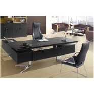 luxury high end leather executive office table design F01 executive fancy stainless steel CEO desk b