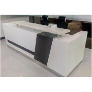white and black color reception office desk curved shape design BL model 2.7m dimensions reception t