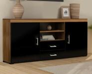 Black & Walnut Large Sideboard & TV Cabinet Unit Living Room Furniture Set
