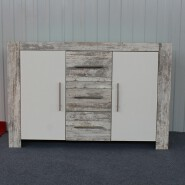 melamine wooden sideboard cabinet in white pine color with 3 drawer and 2 doors