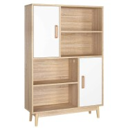 Sideboard Storage Cabinet Free Standing Storage Unit with 2 Doors 2 Shelf in White Color