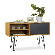 Wooden Modern Kitchen Display Cabinet Dining Sideboard With Drawers and Metal Legs
