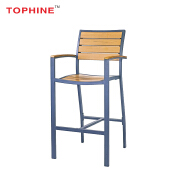 Commercial Contract Outdoor Stainless Steel Plastic Wood Armchair Bar High Chair