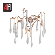 Wholesale modern gold copper brass transparent crystal drop wall lamp