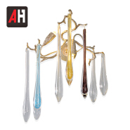 Modern fancy design indoor decorative copper cover colorful crystal drops wall lamp
