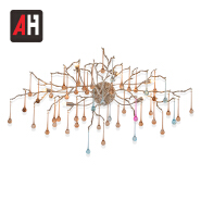 Contemporary flower copper branch murano glass crystal modern wall lamp