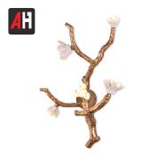 Novel design ceramic flower lamp all copper branches wall lighting