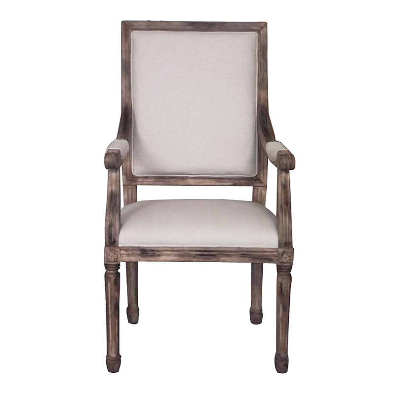 Classical Restaurant Club Loft Linen Fabric Banquet Ash Wood Brushed Dinning Armchair for Lounge