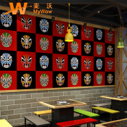 A5-14P01 New collection Face design waterproof 3d pvc wall paper decoration