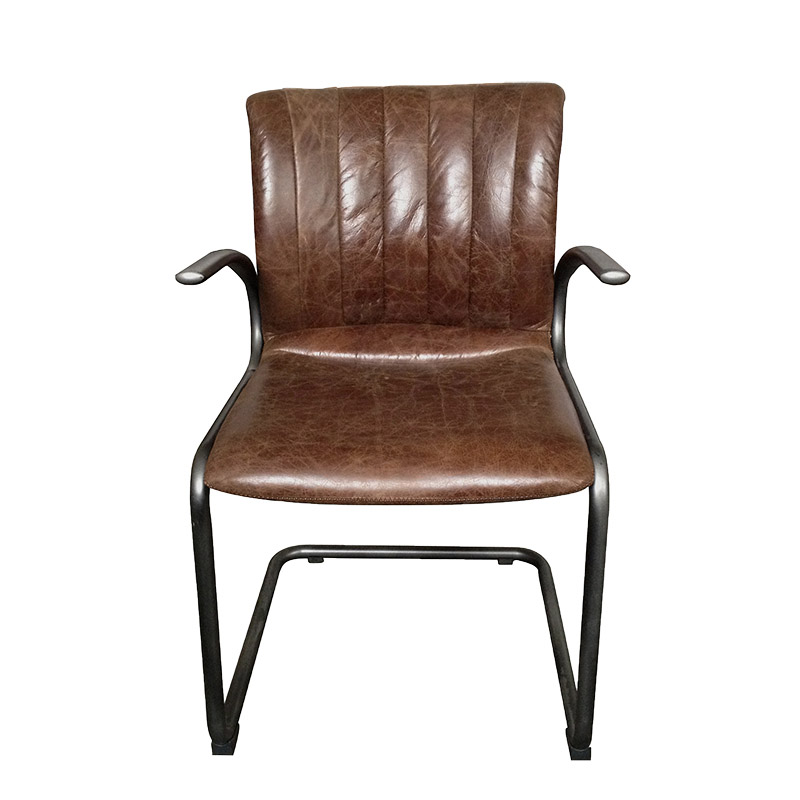 Industrial Iron Frame Quilting Back and PU Leather Upholstered Seat Dining Restaurant Kitchen Chair