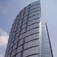 Building exterior facade reflective glass curtain wall system