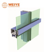 Weiye high rise office building facade thermal break aluminum vertically expressed curtain wall stic