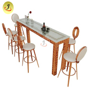 Stainless steel gold metal cocktail bar high table and chair
