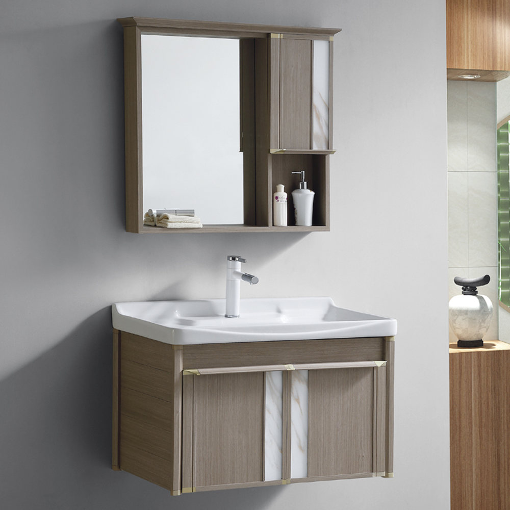 New wall aluminum bathroom washbasin cabinet with large water capacity sink
