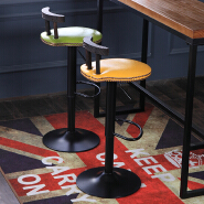 Retro England Style Wooden Fabric Bar Stool Bar Chair With Footrest