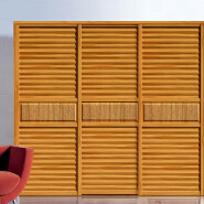 wood wardrobe with louvered doors