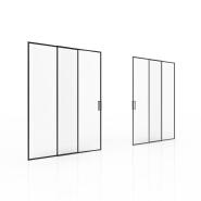Modern design tempered glass slim aluminum narrow frame sliding door for bedroom