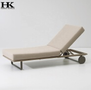 new material rope woven outdoor garden pool sun loungers with wheels