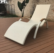 Retro airy backrest plastic rattan woven outdoor deck chair stackable hotel pool sun lounger
