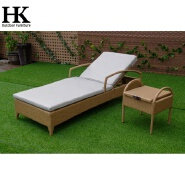 new design outdoor furniture rattan woven with armrest and wheels sun lounger
