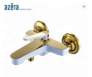 White And Gold Single Handle European Bathroom Bath Shower Taps Mixer Faucet