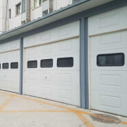 Automatic glass garage door with pedestrian access door and windows