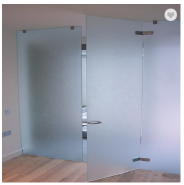Frosted Crystal Polish edge Tempered Toughened Glass Bathroom doors
