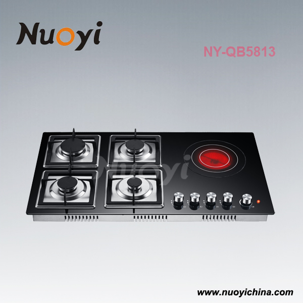 5 burner glass 4 gas 1 electric cooking hob