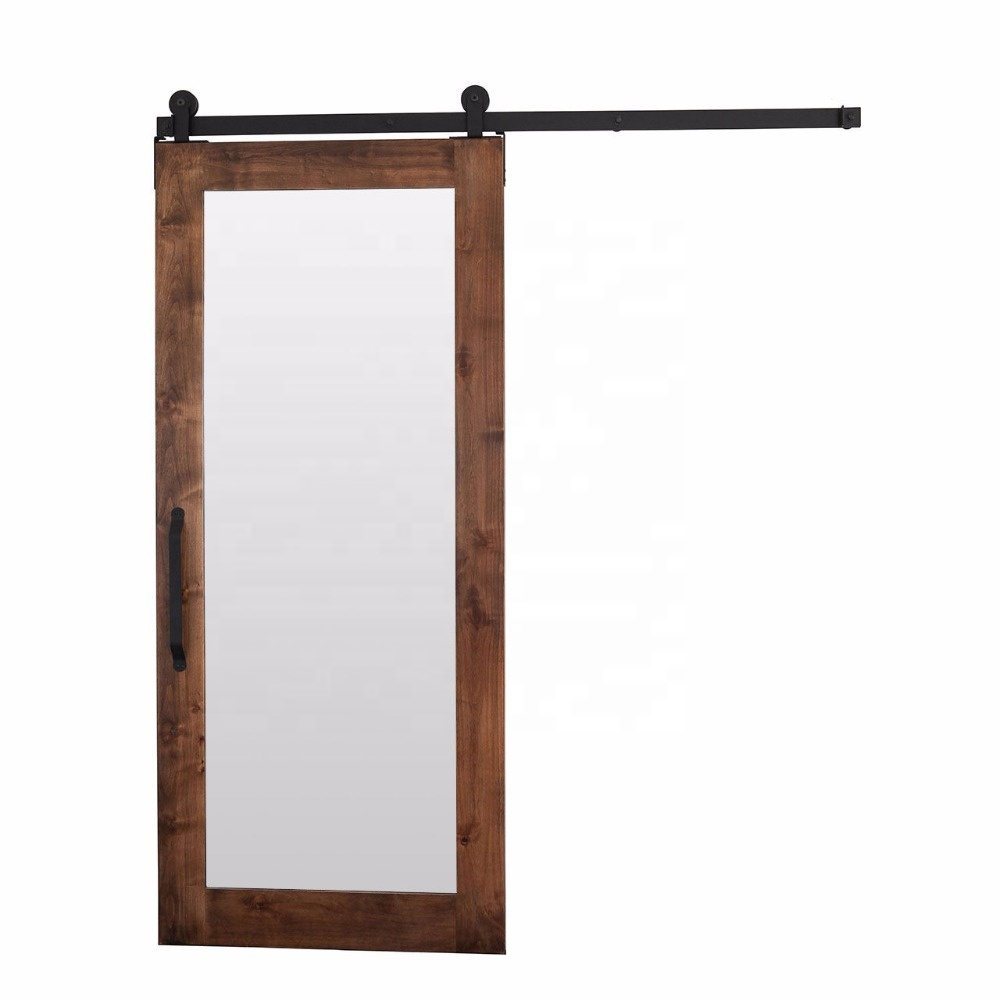 Europe Rustic Style Mirror frosted glass Sliding Wood Door Panel With Barn Door Hardware