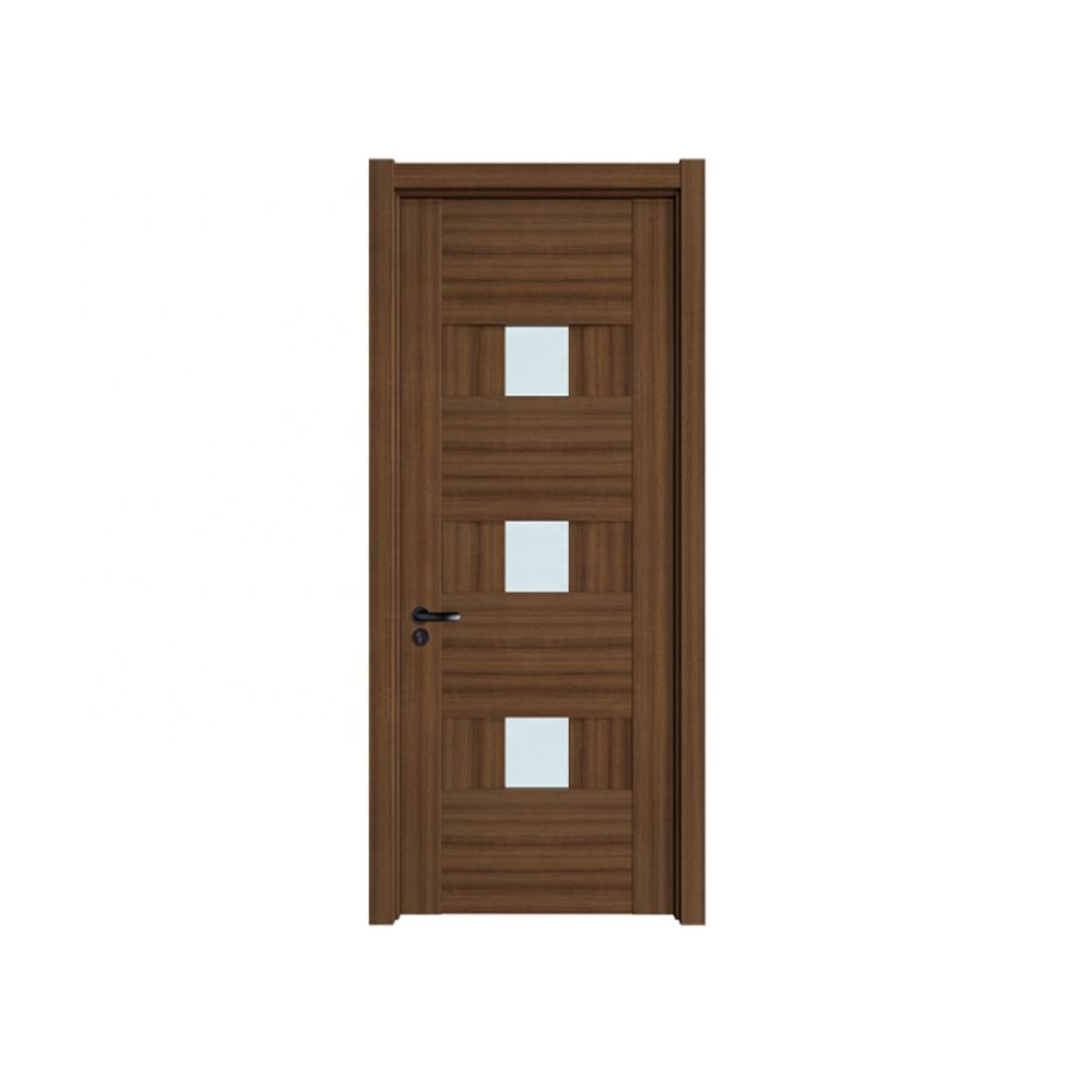 Wholesale latest modern entry interior wood glass assembled design solid wooden door