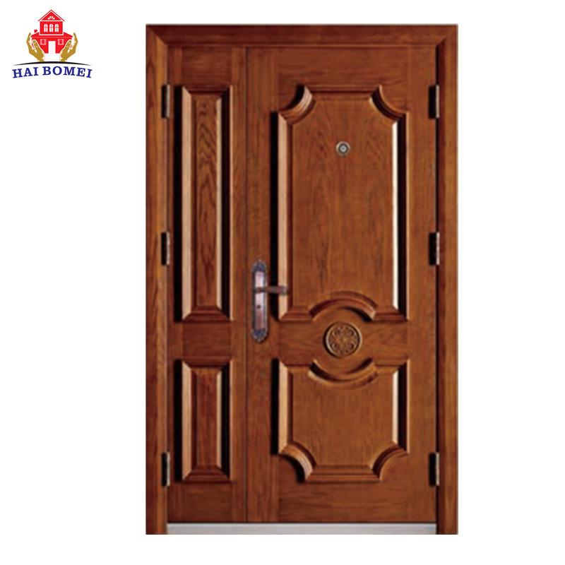 Hot sale solid wooden two leaf door for exterior