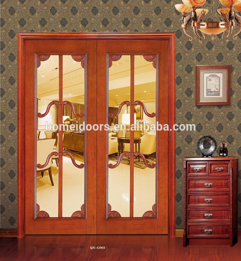 Interior door swing double wood door with glass design
