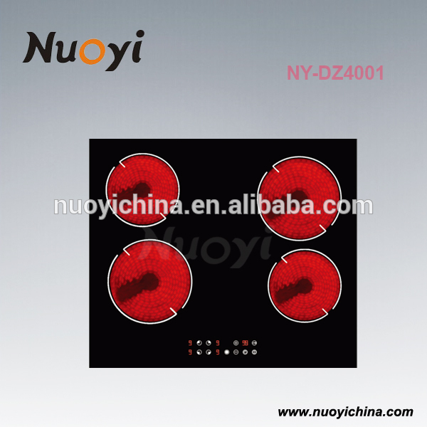 4 burner induction Cooker with Electronic Plate and Black Crystal Glass