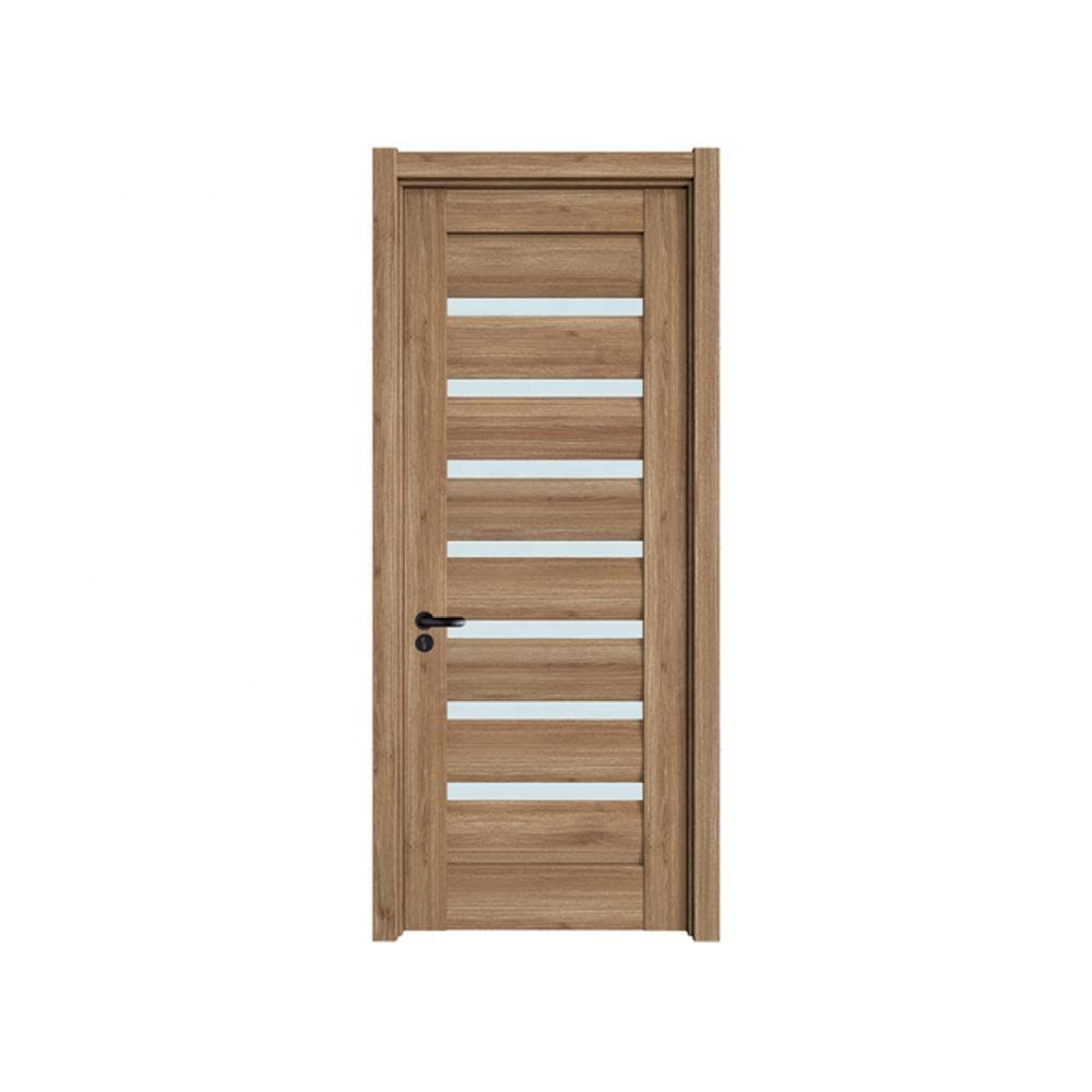 Wholesale pvc film foil Glass assembled hot sale interior wooden door for hotel bathroom