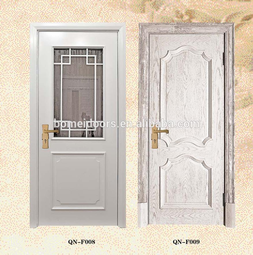 Alibaba China market solid wood white bedroom door with glass modern security swing door