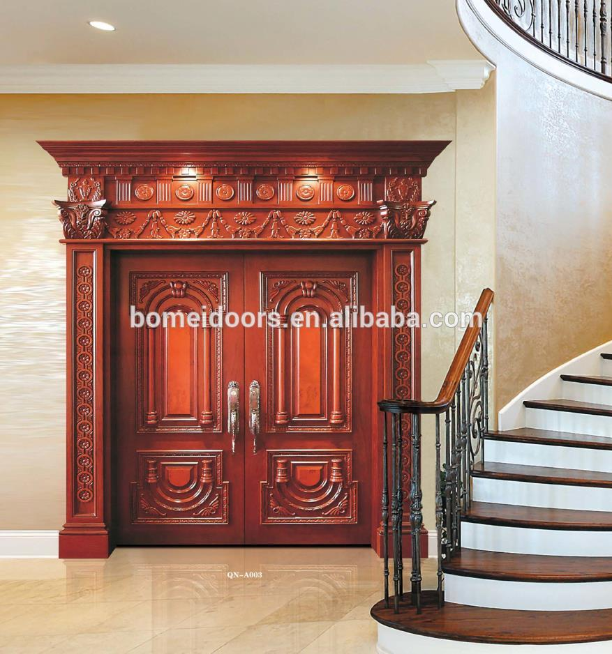 Modern house solid wooden double main door