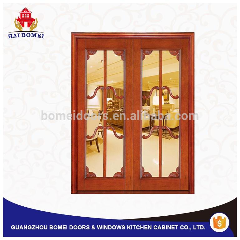 nterior door swing double wood door with glass design