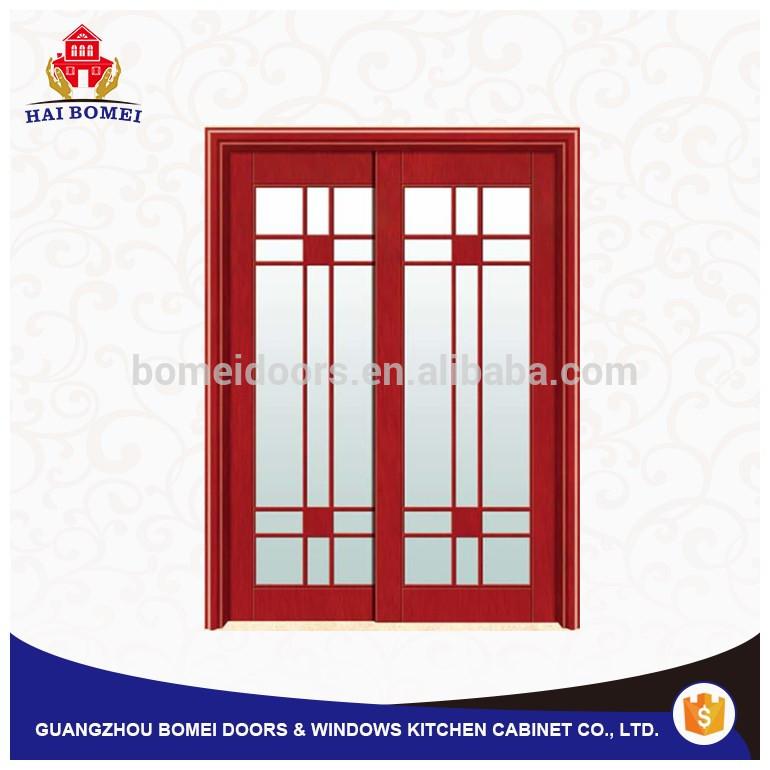 Fancy design interior glass wooden door antique luxury carved teak wood double door design