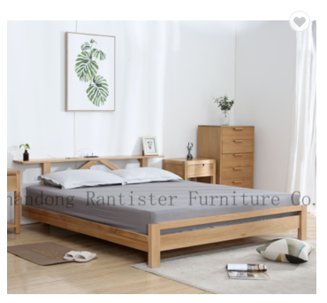 New Green bed modern simple small house type solid wood bed