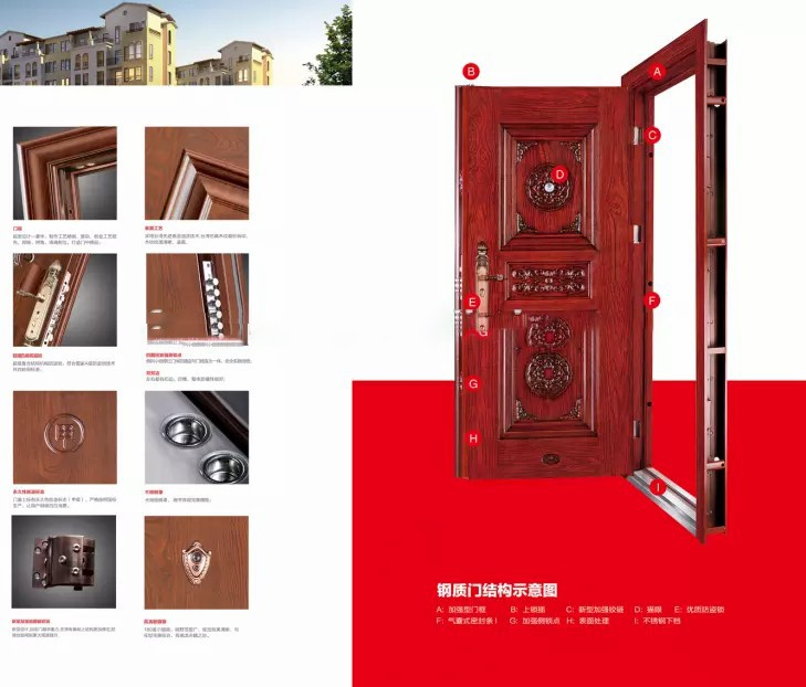 Galvanized iron door frame one and half steel security door