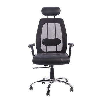 PU Leather Executive Office Chair Mesh Back Office Seating with Armrest