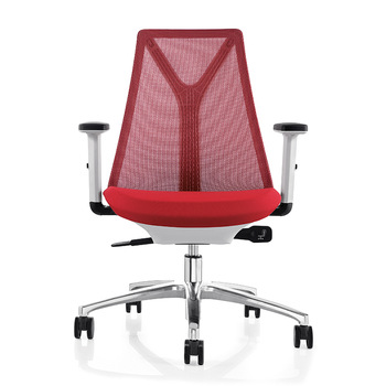 Y Shape Back Support Red Mesh Medium Back Ergonomic Task Chair For Office and Home