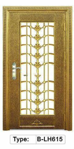 Double glass insert with attice villa door design