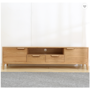Wood TV cabinet Spring grass TV stand with drawers simple and modern small household solid wood furn